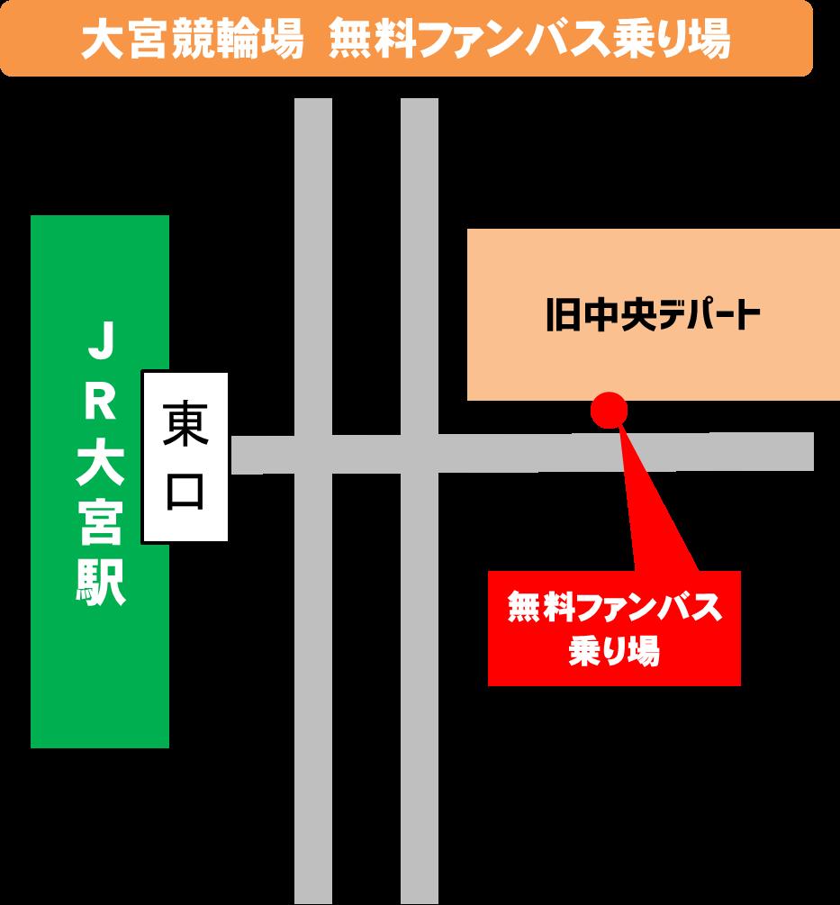 無料バス乗り場のマップ