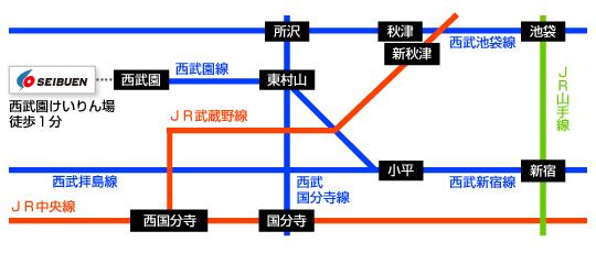 西武園競輪場周辺の路線図
